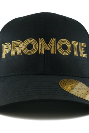 13427-Promote-Retro-Trucker-Snapback-Cap-Black-Front
